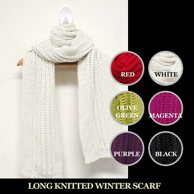Knitted Winter Thin Scarf - High Quality Long Size Unisex Plain Color Simple