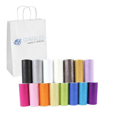 """6"""" Glitter Tulle Roll Spool - Wedding Bow Decoration Craft 25 Yard - 16 Colors"""