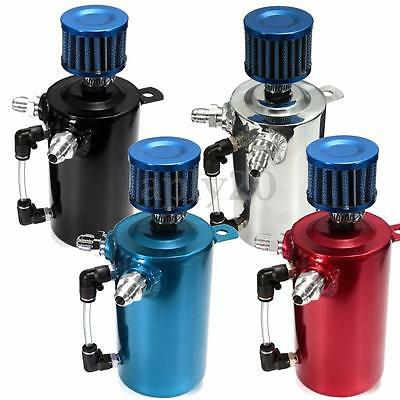 Car Racing Engine 0.5L Oil Breather Tank Catch Can Reservoir & Blue Alloy Filter