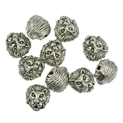 10 Packs of Antique Solid Metal Lion Head Spacer Beads Connector-Gold/Silver