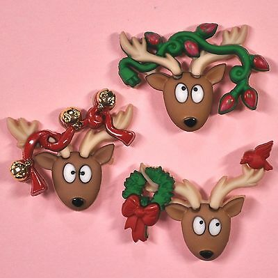 DRESS IT UP Buttons Oh Deer 7498 - Embellishment - Xmas - Christmas