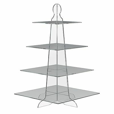 4 Tier Square Cup Cake Stand Wedding Birthday Party Acrylic Cupcake Display