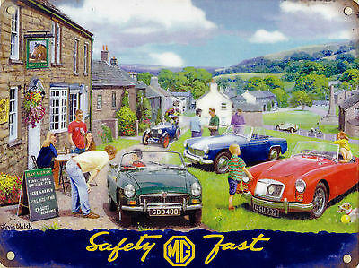New small 15x20cm MG car vintage enamel style tin metal advertising sign 8x6""