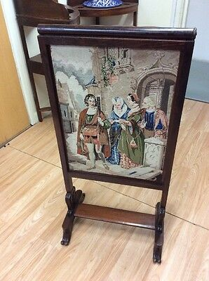 Antique Rose Wood Lifting Tapestry Screen