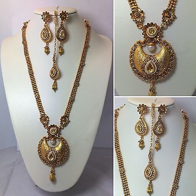 Necklace Earring Tikka Set Gold Polki Jewellery Indian Bridal Bollywood Jewelry
