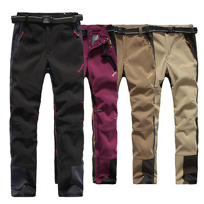 Womens Soft Shell Windproof Waterproof Hiking Camping Outdoor Pants Trousers