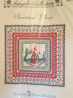 Christmas Village Canvaswork CHART 250x250 Stitches- Laura J Perin-Sampler Colle