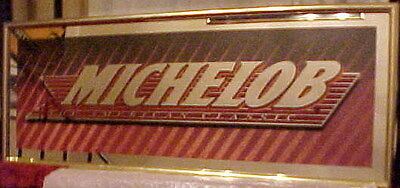 "Gorgeous New Vintage 1995 Michelob American Classic Framed 32"" X 12"" Mirror Sign"