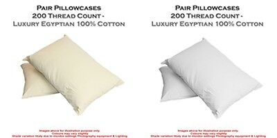 2 X Pillow Case Luxury Housewife 100% Egyptian Cotton 200 Thread Count Pair Pack