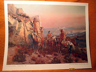 1902 Indian Standing On Horse War Paint Charles Russell Museum PRINT Make Offer