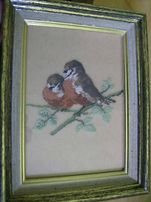 English Robins FINISHED Petit Point Picture -Jean McIntosh Design-4.75 x6 Inches