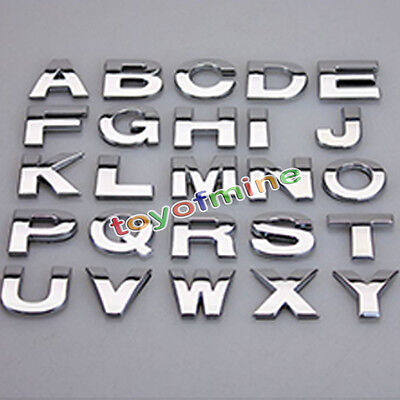 (A-Z&0-9) 3D DIY Metallic Alphabet Sticker Car Emblem Letter Silver Badge Decal