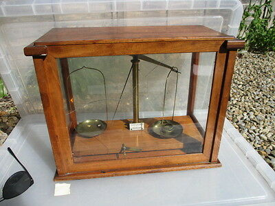 """Vintage Wooden Laboratory Display Case Scales """"Beckers Sons"""" Apothecary Old"""