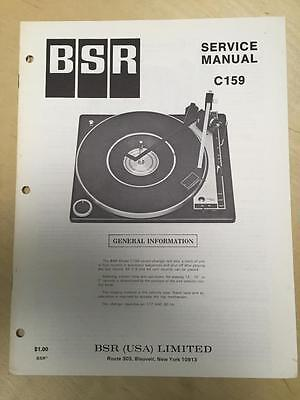 BSR Service & User Manual for the C159 Turntable Record Changer