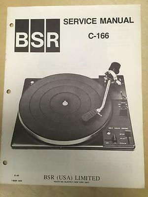 BSR Service & User Manual for the C-166 Turntable Record Changer