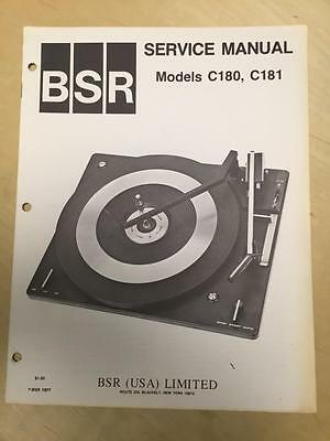 BSR Service & User Manual for the C180 C181 Turntable Record Changer