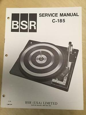 BSR Service & User Manual for the C-185 Turntable Record Changer