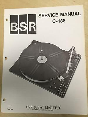 BSR Service & User Manual for the C-186 Turntable Record Changer