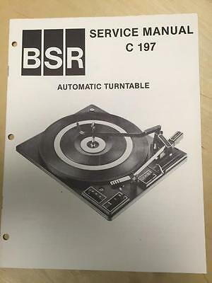 BSR Service & User Manual for the C-197 Turntable Record Changer