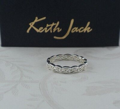 Dainty Narrow Sterling Silver Celtic Knot Ring KEITH JACK Size 6, 6.5 or 8