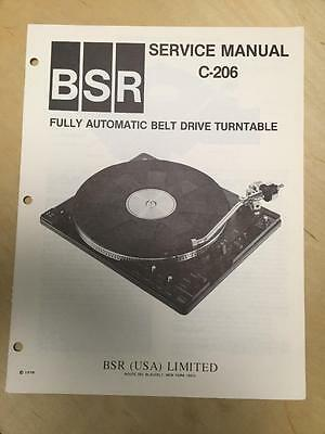 BSR Service & User Manual for the C-206 Turntable Record Changer