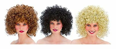 *Womens Ladies 1980s 80s Curly Perm Boogie Babe Disco Wig Fancy Dress Accessory*