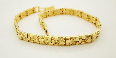 Mens Womens 10k Yellow Gold Solid Nugget Bracelet 8 in