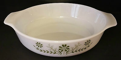 White Glass Oven-Proof Round Baking Dish W/green Floral Design 238 - Usa