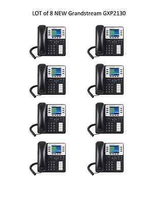 LOT of 8 New Grandstream GXP2130v2 Phone w/Color Display - VoIP - FREE SHIPPING