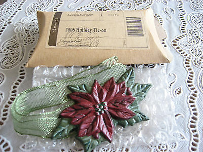 NEW Longaberger 2006 Cast Iron Poinsettia Tie On w/Box 4 Your Christmas Basket!