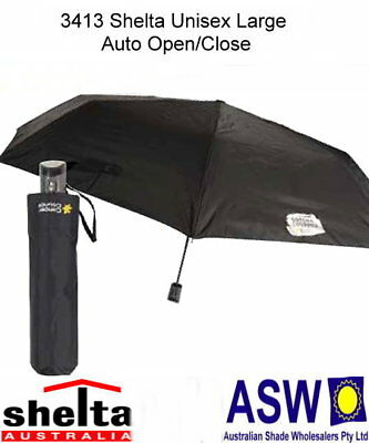 UPF50+ CANCER COUNCIL BLACK Shelta Folding Umbrella Rain Sun Auto Open 3413