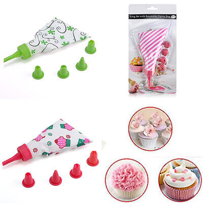 DIY Cake Decorating Icing Piping Cream Pastry Bag & Nozzle Converter Tools Kit
