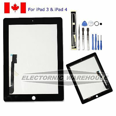 Black Replacement for iPad 3 & 4 WiFi Front Screen Glass Digitizer + Free Tools