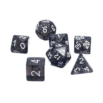 7 x Glitter Multi-Sided Dice Set D4-D20 D&D TRPG Games Role Play Game Black