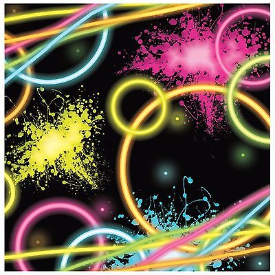 80's Neon Happy Birthday Party - 'Glow Party' - 16 x Paper Luncheon Napkins