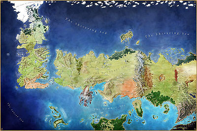 Game of Thrones World Map POSTER   Huge 120cmx80cm   song of ice fire book dvd