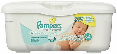 Pampers Baby Wipes Tub, Sensitive with Touch of Milk Essentials 64 Wipes Tub NEW
