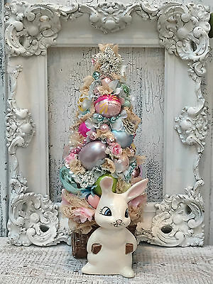 Easter Bottle Brush Tree, Vintage Bunny Rabbit Planter,Victorian Lace and Roses