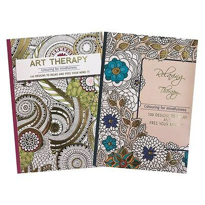 Large Adult Relaxing Art Therapy Colouring Book Anti-Stress with 120 Designs