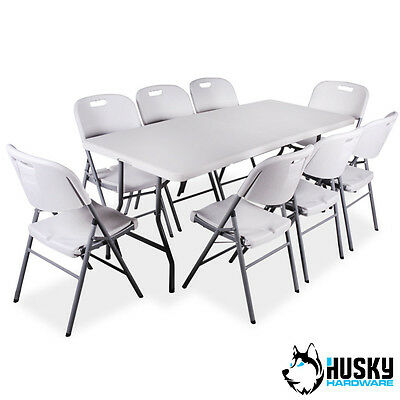 HUSKY Folding Plastic Table + Chairs Garden Camping BBQ Banquet Catering Market