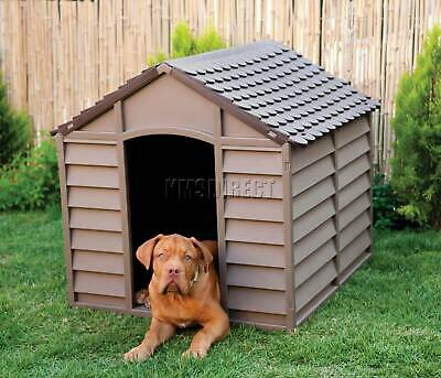 Starplast Outdoor Plastic Dog Kennel Shelter Winter House Durable Large Mocha