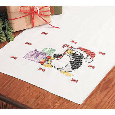 Herrschners Penguins & Gifts Dresser Scarf Stamped Fabric To Cross Stitch 14 x 4