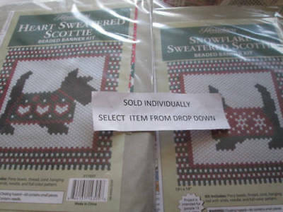 Sweatered Scottie Beaded Banner Kit -Your Choice- Snowflake OR Heart 13.5x15 Inc