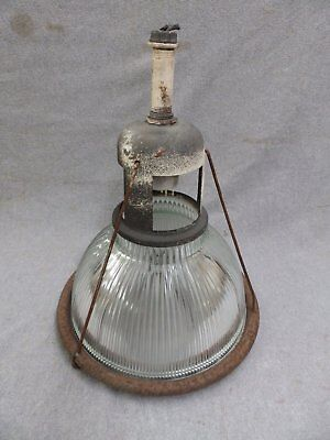 "1 Vintage Industrial 12"" Holophane Pendant Light Old Factory Steampunk 573-16"