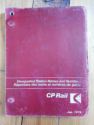 Vintage 1974 Canadian Pacific Railway CP Rail Station Names Numbers Booklet