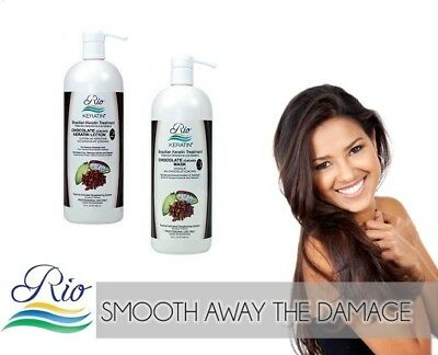 Rio Chocolate Brazilian Blow Dry Hair Treatment Kit w/ Pre Shampoo & Mask 150ml