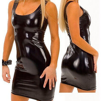 Womens PVC Lingerie Faux Leather Wet Look Bodycon Pencil Dress Clubwear G-String