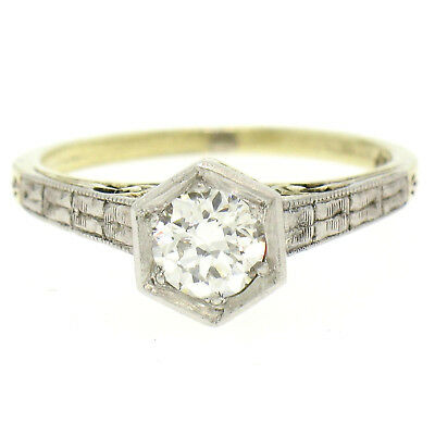 Antique Art Deco 14k Gold & Platinum Old European Diamond Etched Solitaire Ring
