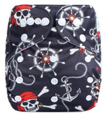 Modern Cloth Reusable Washable Baby Nappy Diaper & Insert, Pirate Anchors