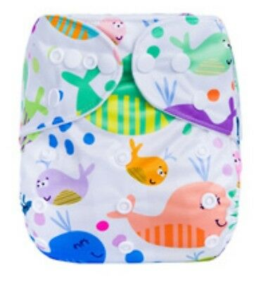 Modern Cloth Reusable Washable Baby Nappy Diaper & Insert, Whale